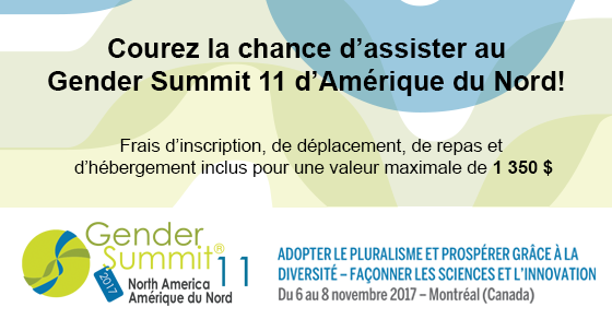 Courez la chance d'assister au Gender Summit 11 d'Amérique du nord