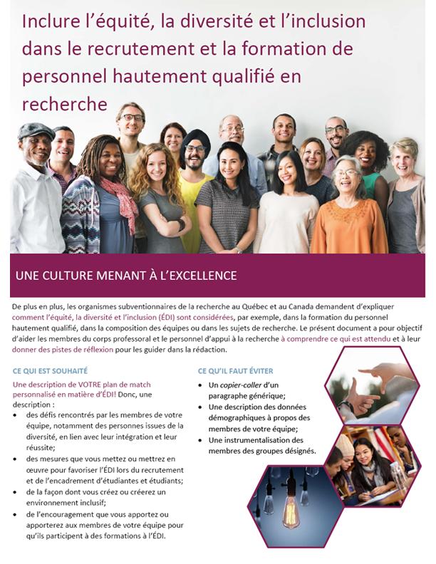Aide-mémoire : Inclure l'équité, la diversité et l'inclusion dans le recrutement et la formation de personnel hautement qualifié en recherche