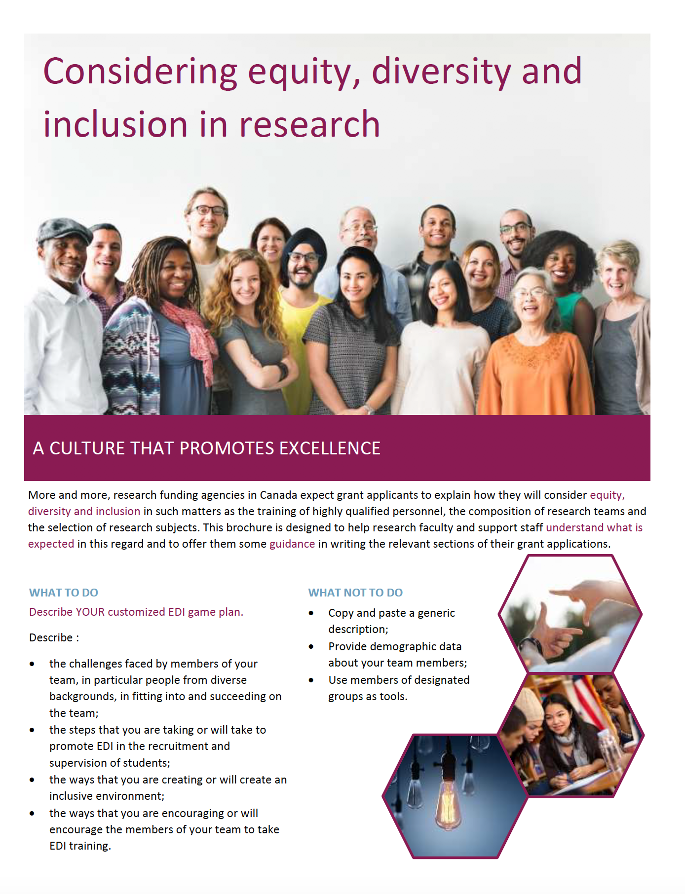 Considering Equity, Diversity and Inclusion in Research