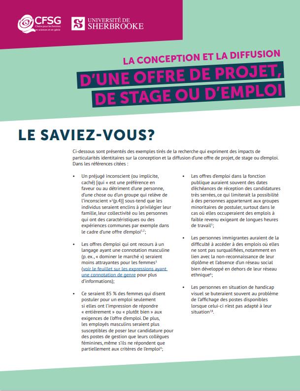 LA conception et la diffusion d'une offre de projet, de stage ou d'emploi