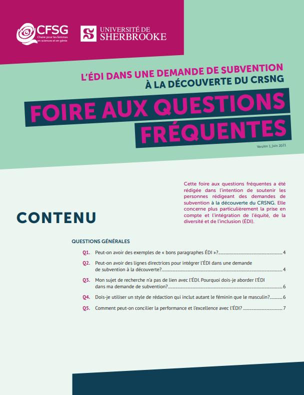 FAQ : l'ÉDI dans une demande À la découverte du CRSNG